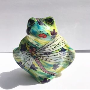 Turov Hand Painted Ceramic Frog Dragon Fly B1